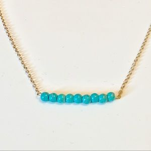 5/20$ Gold Plated Turquoise Bead Necklace